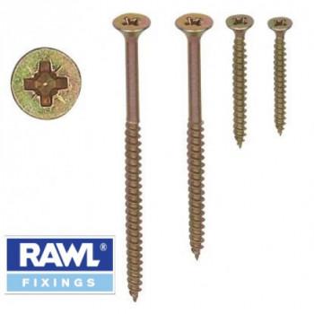 Rawl Plug - 6 x 100mm Wood / Chipboard Screws x 200