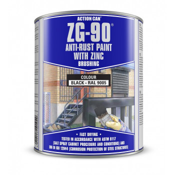 Action Can Zinc Galvanising Brushing Paint 900ml (Black)