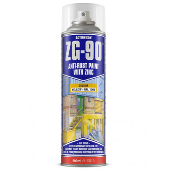 Action Can Zinc Galvanising Spray Paint 500ml (Yellow)