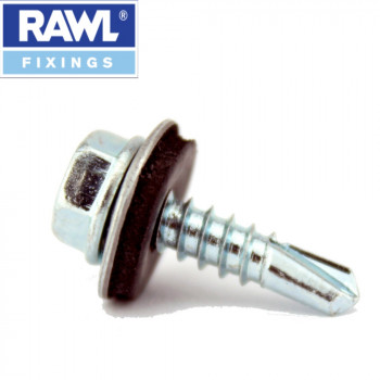 Rawl Plug - 4.8 x 16mm Self Drilling Tech Screws With Washers x 100